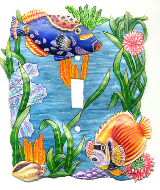 Hand painted metal switchplate cover - Tropical fish design