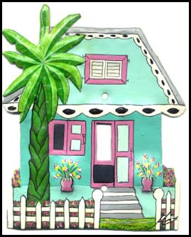 Painted metal light switch cover - Caribbean house - tropical decor