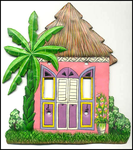 Hand painted metal switch plate cover - Caribbean house design - Tropical Decor