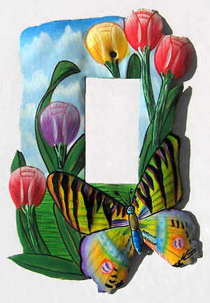 Hand Painted Metal Switch Plate Cover - Butterfly design