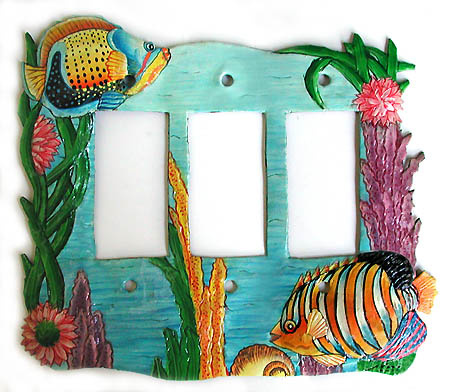 Hand painted metal switch plate cover - Tropical fish design