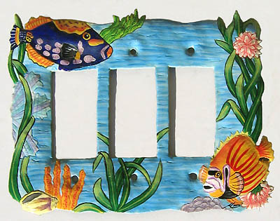 Painted metal switch plate cover - Tropical fish