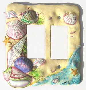 Sea Shell switchplate - Hand painted metal