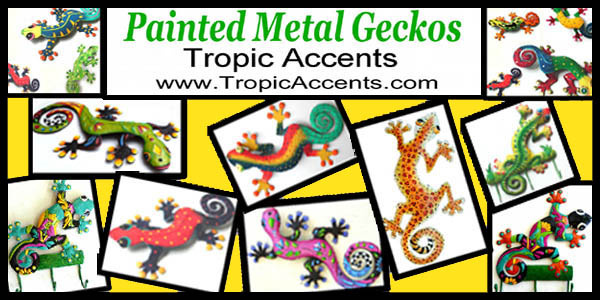 painted metal gecko wall decor - tropic accents