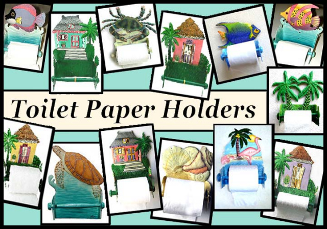 painted metal toilet paper holders - bathroom decor