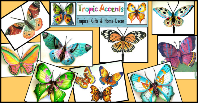 painted metal butterfly wall hangings. Tropic Accents