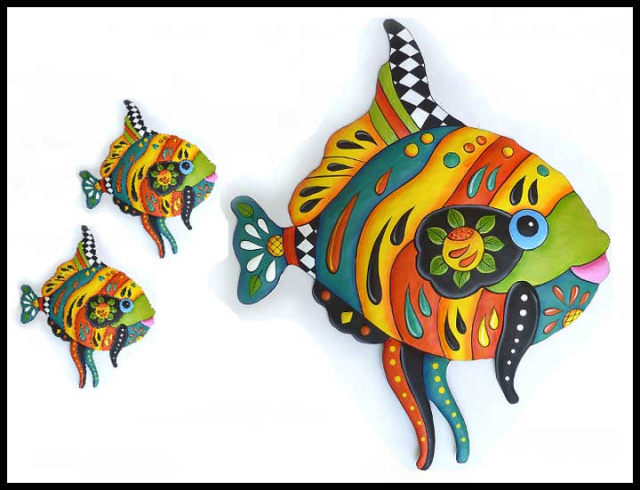 Tropical fish wall hanging, Metal Art, Hand painted metal tropical decor.   Hand cut from recycled steel drums in Haiti.