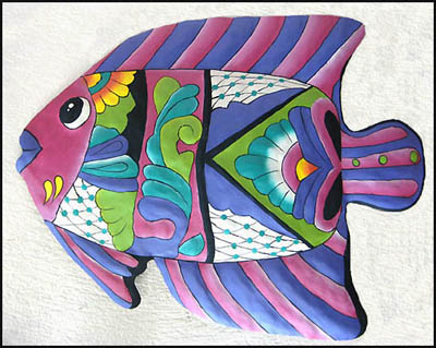 painted metal tropical fish wall hanging