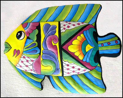 This brightly hand painted metal tropical fish wall hanging is hand cut from recycled steel drums. Painted metal fish. Tropical decor - Caribbean decor
