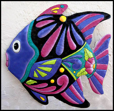 Hand painted metal tropical fish wall hanging - Haitian recycled steel drum - tropical decor - Caribbean decorating