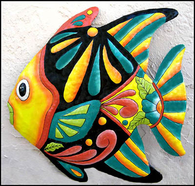 Hand painted tropical fish wall hanging - Handcrafted in Haiti - Tropical - Caribbean decorating.