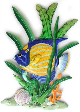 Painted Blue Ringed Angelfish Metal Wall Decor - Hand painted metal tropical fish - Haitian recycled steel drums - Outdoor garden decor - patio decoration