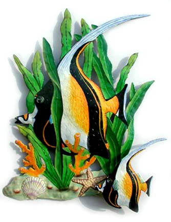 Tropical fish wall hanging. Hand painted metal.