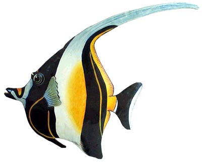 Moorish Idol Painted Metal Tropical Fish Wall Decor - Hand painted metal tropical fish - Haitian recycled steel drums - Outdoor garden decor - patio decoration