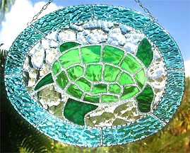 "Green Turtle Stained Glass Suncatcher - 8 1/2"" x 10 1/2"""