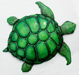 Green Sea Turtle - Hand Painted Metal Wall Art - 24