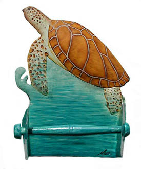 Sea Turtle Toilet Paper Holder in Hand Painted Metal - Bathroom decor
