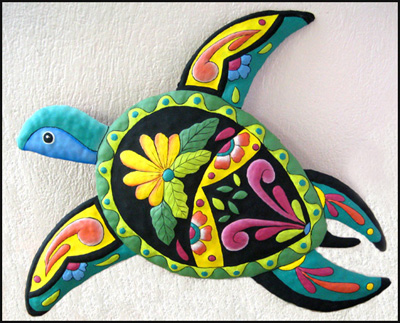 Outdoor Decorations – Painted Metal Turtle Wall Decor – Tropical Garden Decoration