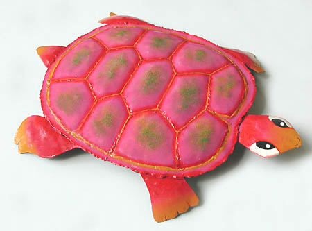 Painted Metal Pink Decorative Turtle Haitian Art Outdoor Decorations Turle