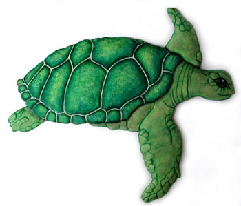Hand Painted Metal Green Turtle Wall Hanging -Painted Metal Outdoor Decor – Tropical Garden Decorations