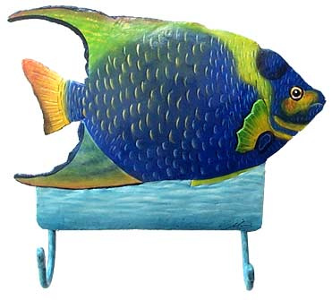 Hand painted metal tropical fish wall hook.
