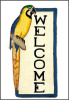 "Painted Metal Blue and Gold Macaw Welcome Plaque - Tropical Decor - 8"" x 16"""