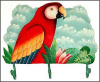 "Painted Metal Scarlet Macaw Wall Hook - Tropical Design - Towel Hook - 10"" x 16"""