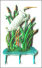 "Painted Metal White Egret Wall Hook - Handcrafted Tropical Decorating - 8"" x 15"""