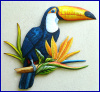 "Metal Art Bird Wall Hanging - Painted Metal Toucan Wall Art - Tropical Decor - 22"" x 26"""