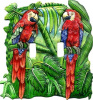 Parrot Painted Metal Switchplate Cover - 2 Holes -Tropical Decor