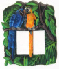 Switchplate - Tropical Parrots Painted Metal Switch Plate - Double Rocker