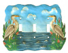 Triple Light Switch Plate Cover - Painted Metal Heron Switchplate