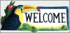 "Welcome Sign -Hand Painted Metal Toucan Parrot - Haitian Steel Drum - 8"" x 16"""