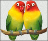 "Parrot Design Metal Art - Painted Metal Lovebirds Wall Hanging - Tropical Decor - 11"" x 12"""