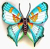 Butterfly Wall Decor,Outdoor Wall Decor - Handcrafted Painted Metal Wall Hanging 21""