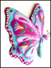 Painted Metal Butterfly Wall Decor - Tropical Decor -Metal Art,Outdoor Garden Art - 24""