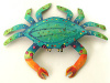 "Painted Metal Crab Wall Hanging, Coastal Decor, Tropical Garden Art- 11""x16"""