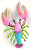 "Painted Metal Pink Lobster Wall Decor -Tropical Metal,  Haitian Steel Drum -14 1/2"" x 22"""