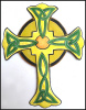 Painted Metal Celtic Cross Wall Hanging, Christian Art, Christian Gift, Steel drum - 18""
