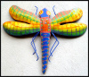 Dragonfly Wall Hanging, Painted Metal Wall Decor - Outdoor Garden Decor - 19""