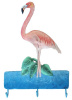 "Flamingo Wall Hook. Tropical Metal Art - Painted Bathroom Decor - Metal Hook - 12"" x 19"""