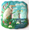 White Egret Double Switch Plate Cover - Hand Painted Metal Home Decor