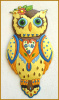 "Painted Metal Owl Wall Hanging - Decorative Wall Art 24""  -Outdoor Wall Art"