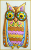 Painted Metal Owl Wall Hanging - Decorative Wall Art - Owl Decor -Haitian Art