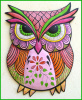 Hand Painted Pink Owl Wall Hanging - Outdoor Decor - Metal Art Wall Decor  25""