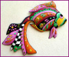 "Tropical Fish Wall Decor,Outdoor Wall Art- Painted Metal Garden Art - 15"" x 24"""
