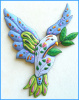 Painted Metal Dove Wall Hanging, Metal Garden Decor, Whimsical Art,Tropical Art