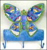 "Butterfly Design Painted Metal Wall Hook - Towel Hook - Metal Hook - Butterflies  10"" x 11"""