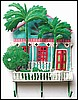 "Painted Metal Caribbean Gingerbread House Wall Hook - Tropical Wall Art - 13"" x 17"""