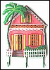 "Tropical Pink Gingerbread House Painted Metal Wall Hook - 12"" x 17"""